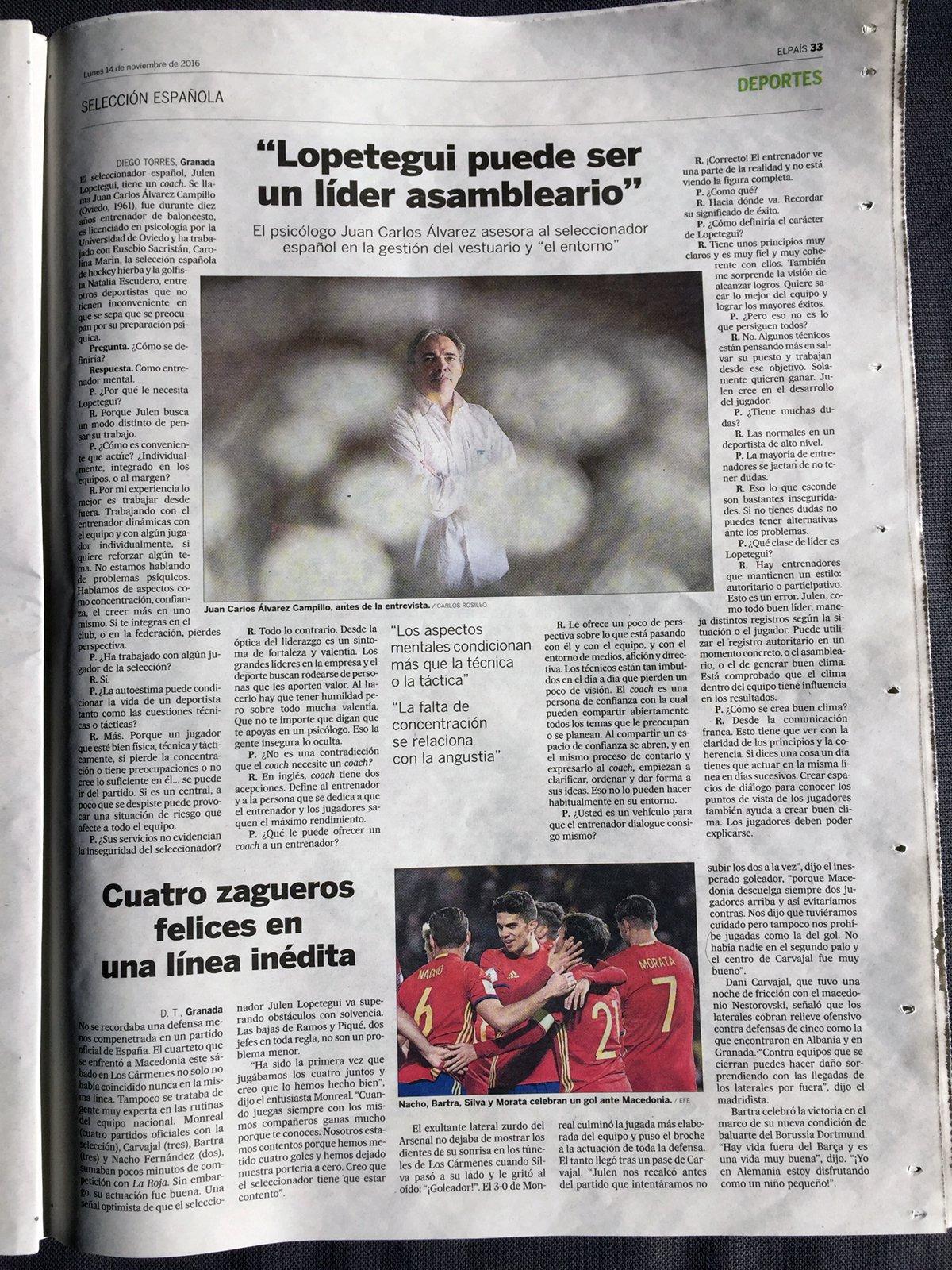 Juan Carlos Campillo en el periódico El Pais sobe Julen Lopetegui