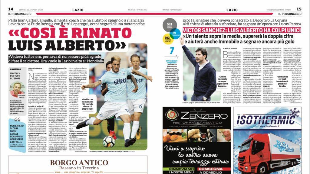 Prensa italiana - Coaching Deportivo - Luis Alberto - Lazio
