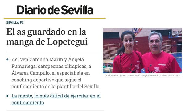 Articulo del Diario de Sevilla que recoge la trayectoria de Juan Carlos Alvarez Campillo