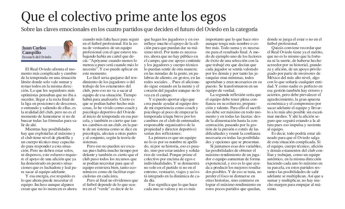 coach deportivo y psicologo del Real Oviedo