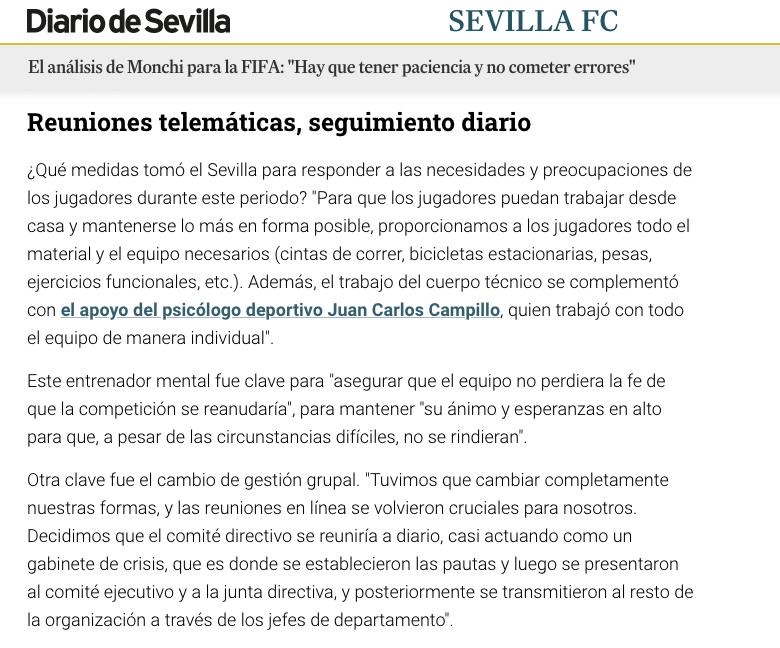 psicologo deportivo Juan Carlos Campillo Sevilla FC